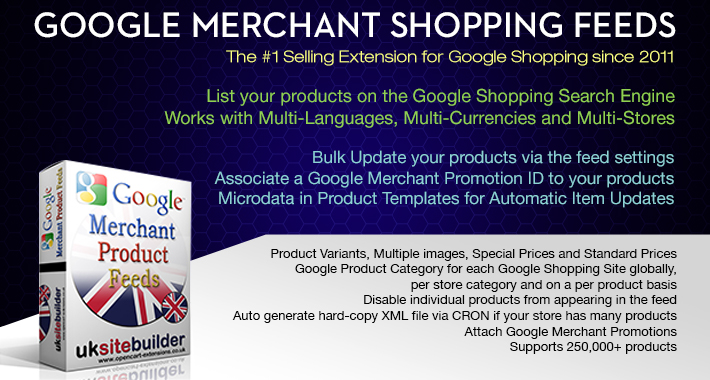 Google Merchant Shopping Feeds + XML Sitemaps OC 2.x