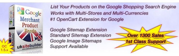 Google Merchant Shopping Feeds + XML Sitemaps OC 1.5.x